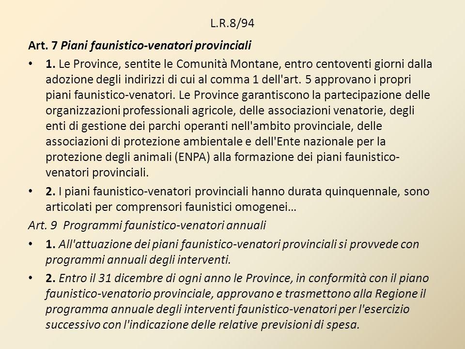 L.R.8/94 Art. 7 Piani faunistico-venatori provinciali.