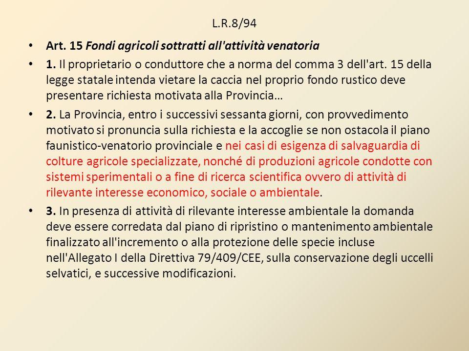 L.R.8/94 Art. 15 Fondi agricoli sottratti all attività venatoria.