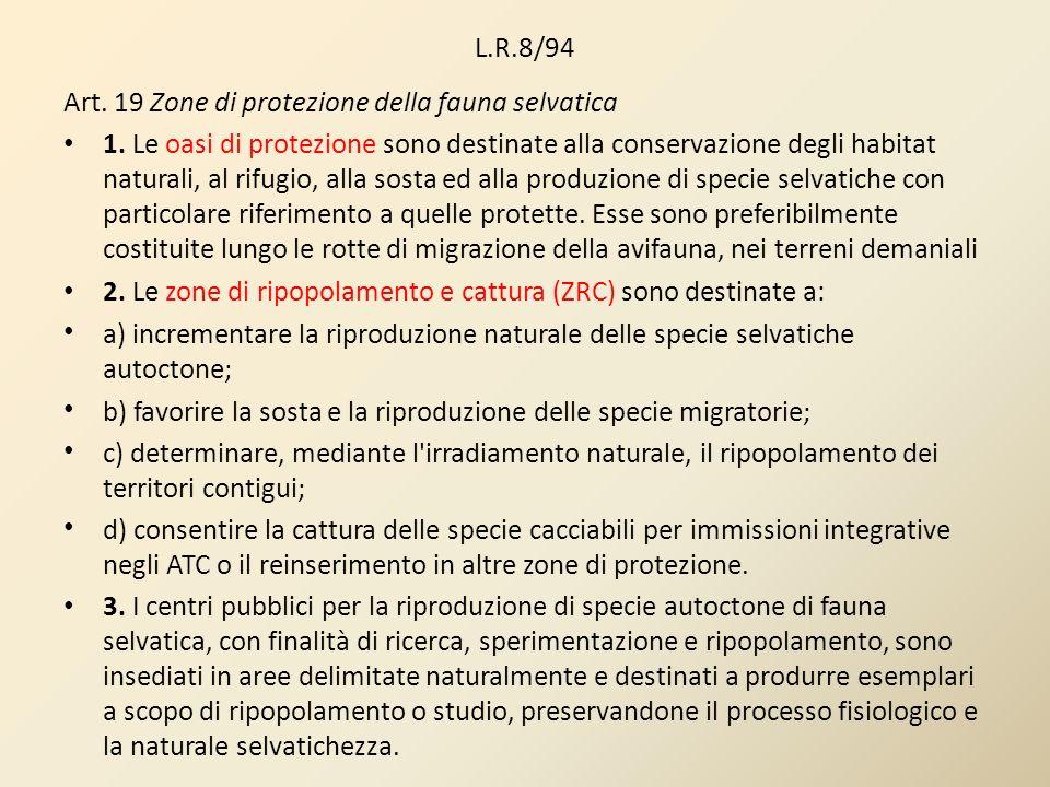L.R.8/94 Art. 19 Zone di protezione della fauna selvatica.