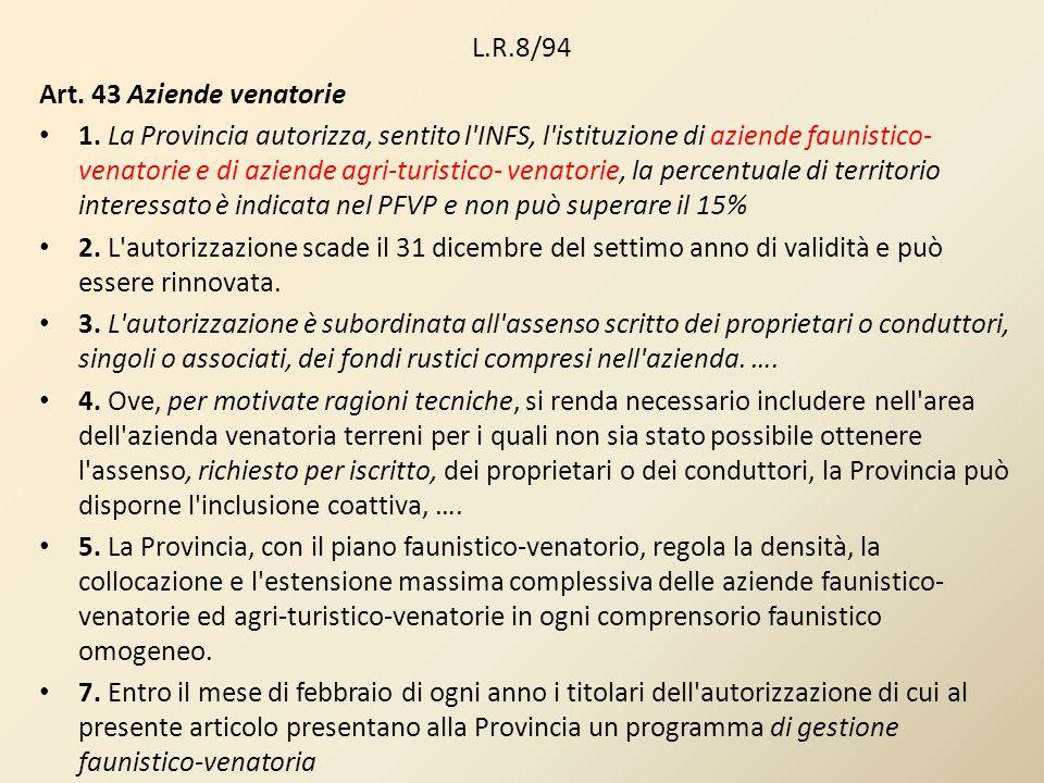 L.R.8/94Art. 43 Aziende venatorie.