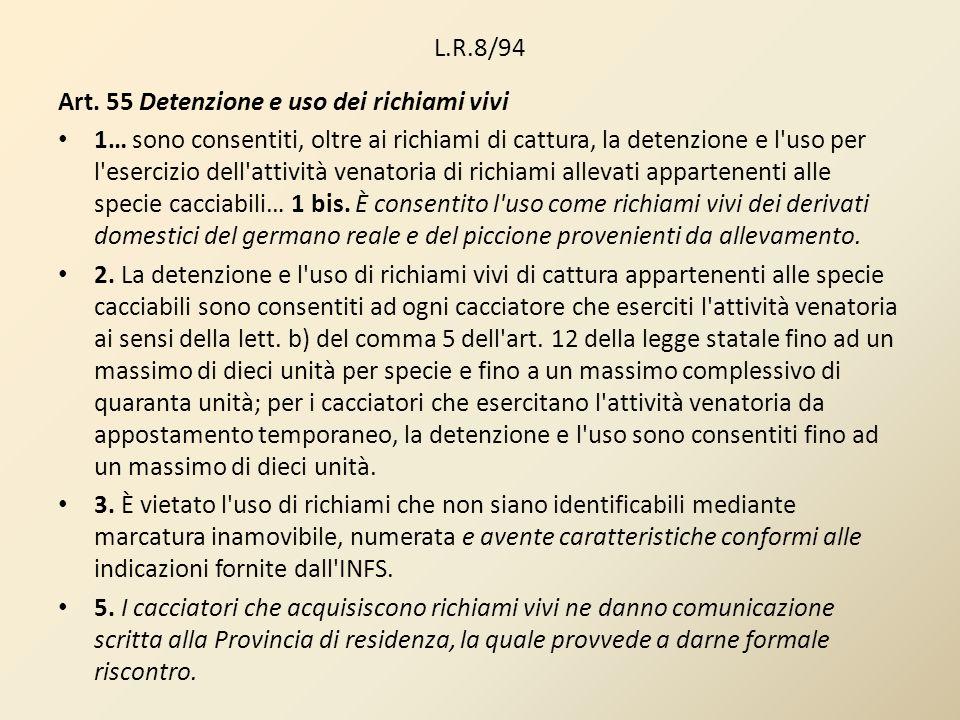 L.R.8/94 Art. 55 Detenzione e uso dei richiami vivi.
