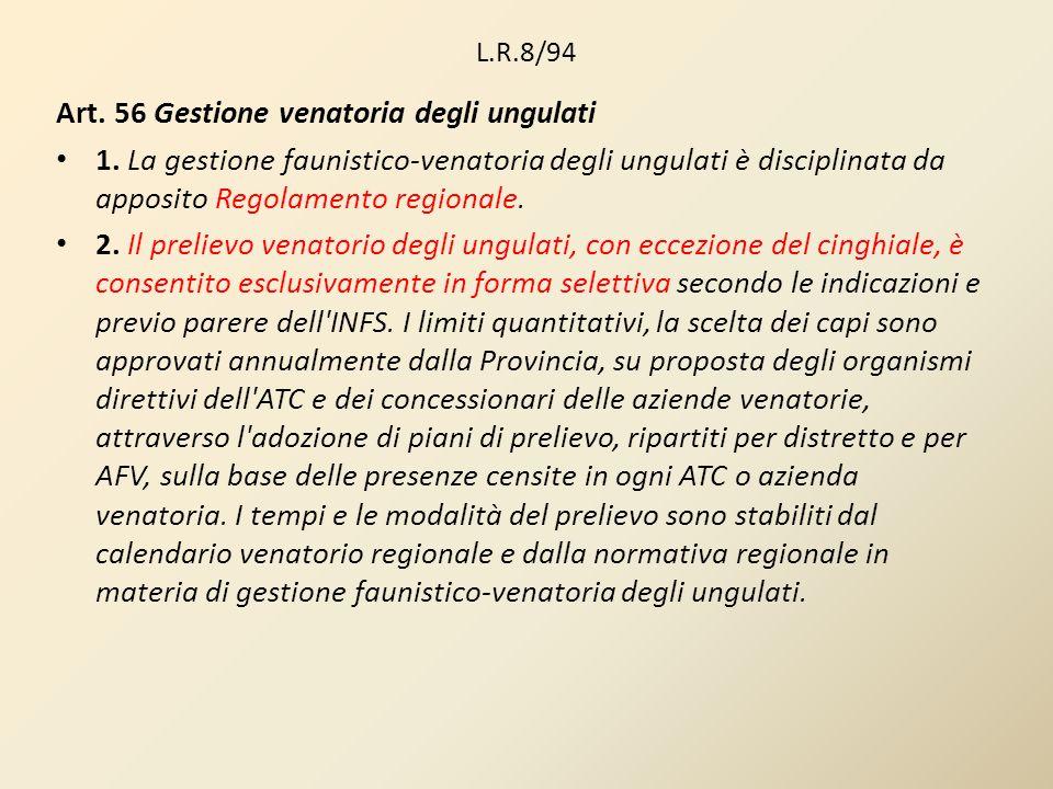 Art. 56 Gestione venatoria degli ungulati