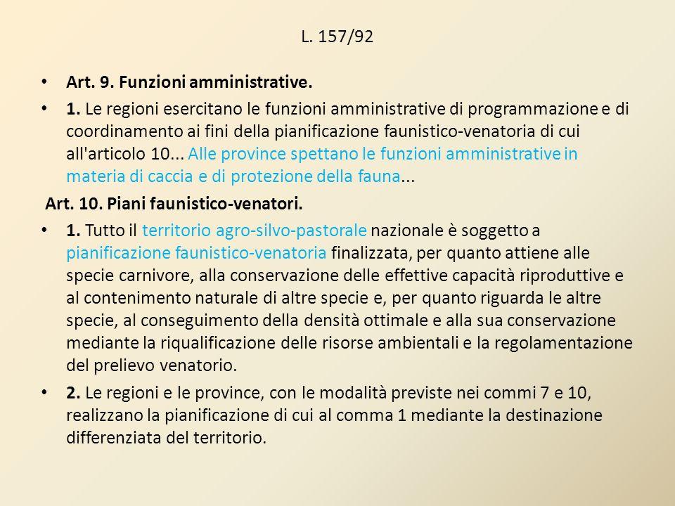 L. 157/92Art. 9. Funzioni amministrative.