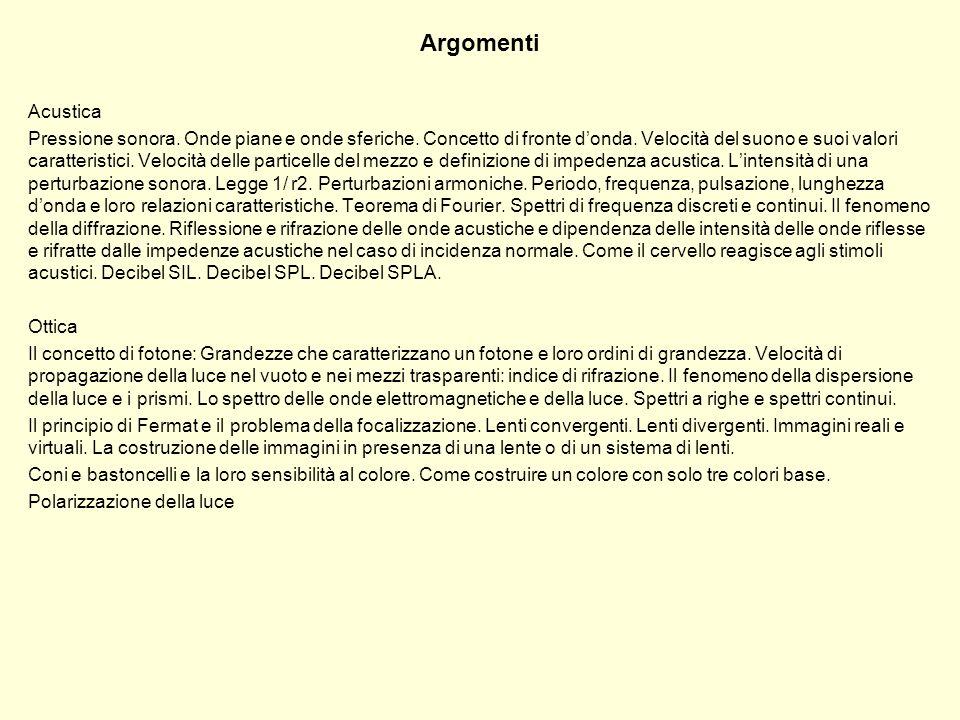 Argomenti Acustica.