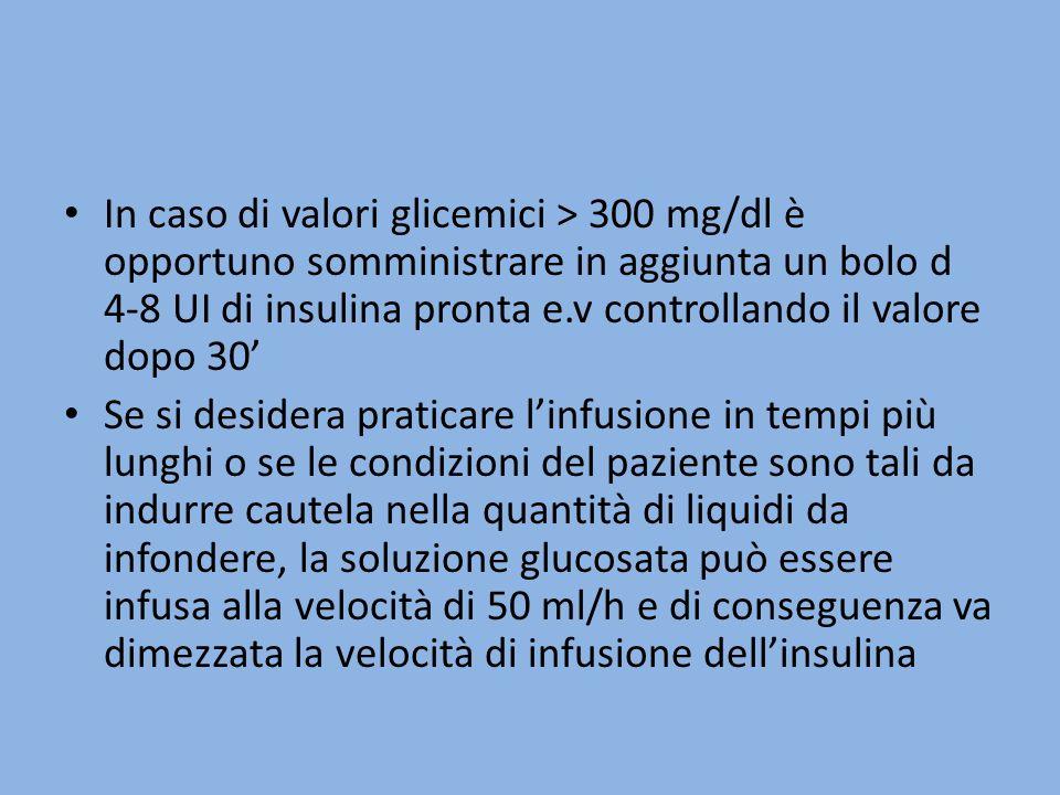 In caso di valori glicemici > 300 mg/dl è opportuno somministrare in aggiunta un bolo d 4-8 UI di insulina pronta e.v controllando il valore dopo 30'