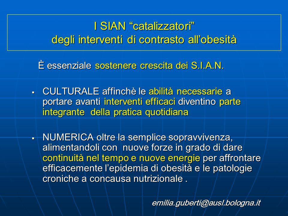 I SIAN catalizzatori degli interventi di contrasto all'obesità