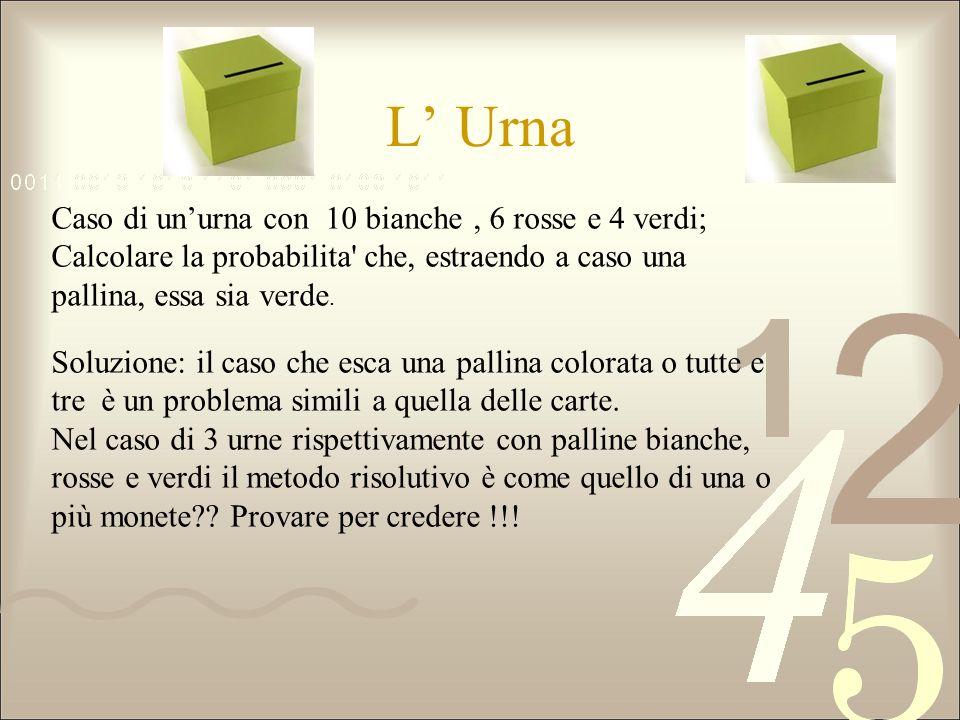 L' UrnaCaso di un'urna con 10 bianche , 6 rosse e 4 verdi; Calcolare la probabilita che, estraendo a caso una pallina, essa sia verde.