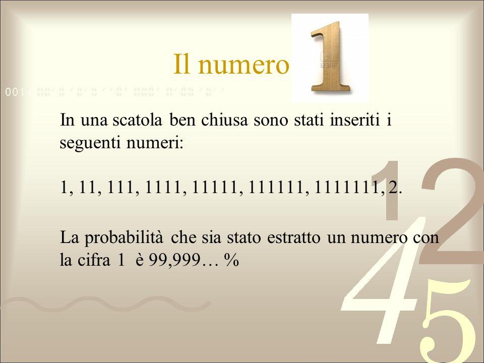 Il numero 1 In una scatola ben chiusa sono stati inseriti i seguenti numeri: 1, 11, 111, 1111, 11111, 111111, 1111111, 2.