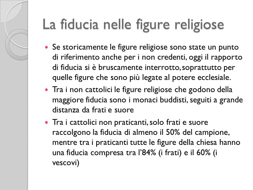 La fiducia nelle figure religiose