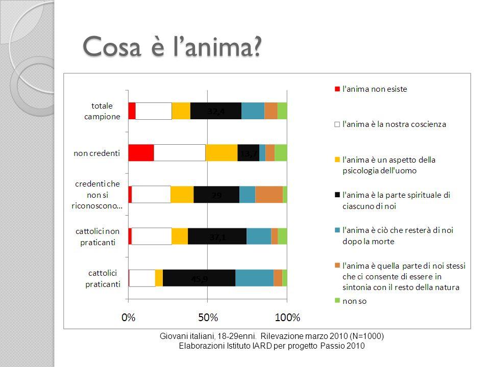 Cosa è l'anima. Giovani italiani, 18-29enni.