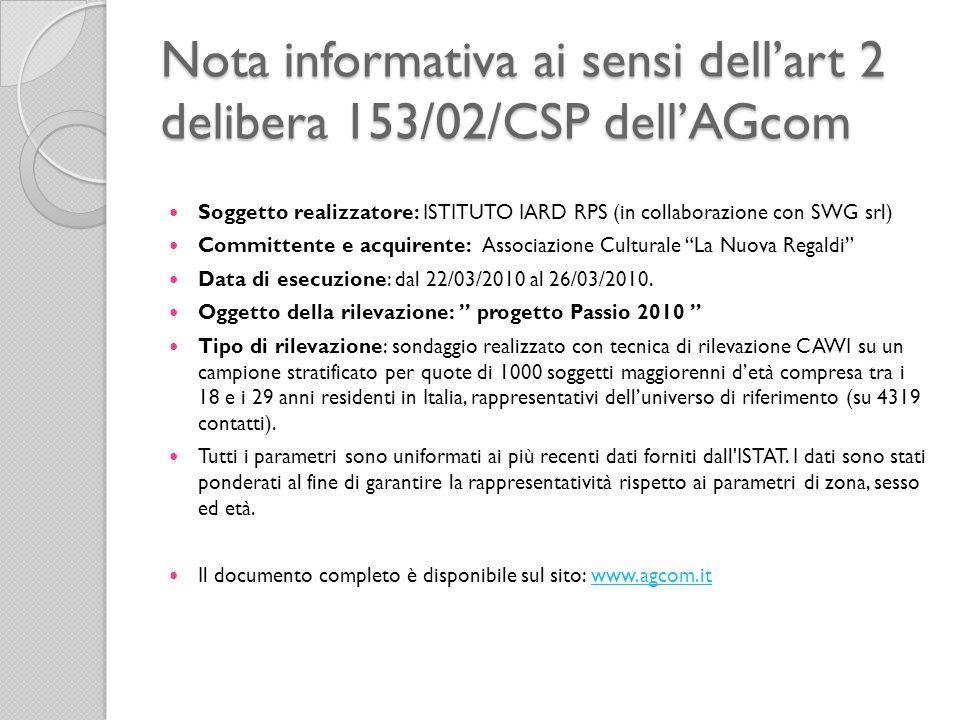Nota informativa ai sensi dell'art 2 delibera 153/02/CSP dell'AGcom