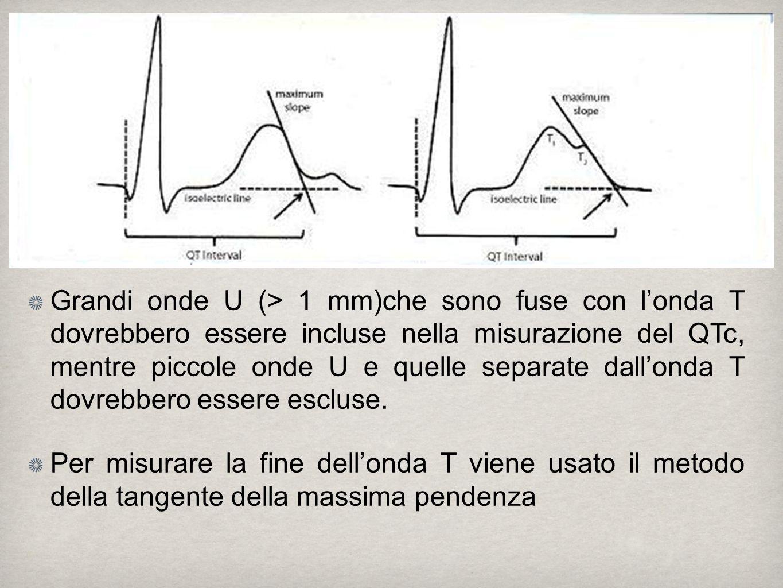 Grandi onde U (> 1 mm)che sono fuse con l'onda T dovrebbero essere incluse nella misurazione del QTc, mentre piccole onde U e quelle separate dall'onda T dovrebbero essere escluse.