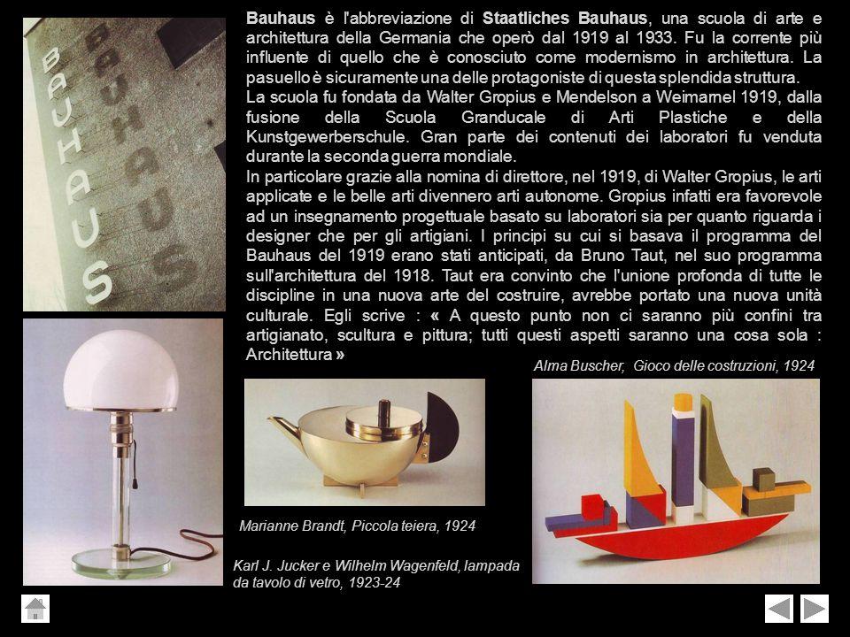 Bauhaus è l abbreviazione di Staatliches Bauhaus, una scuola di arte e architettura della Germania che operò dal 1919 al 1933. Fu la corrente più influente di quello che è conosciuto come modernismo in architettura. La pasuello è sicuramente una delle protagoniste di questa splendida struttura.