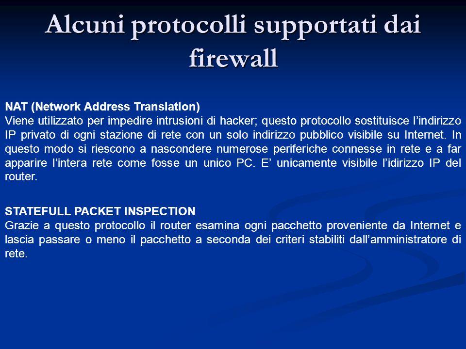 Alcuni protocolli supportati dai firewall