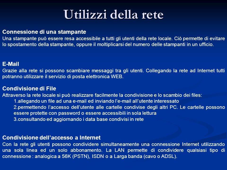 Utilizzi della rete Connessione di una stampante E-Mail