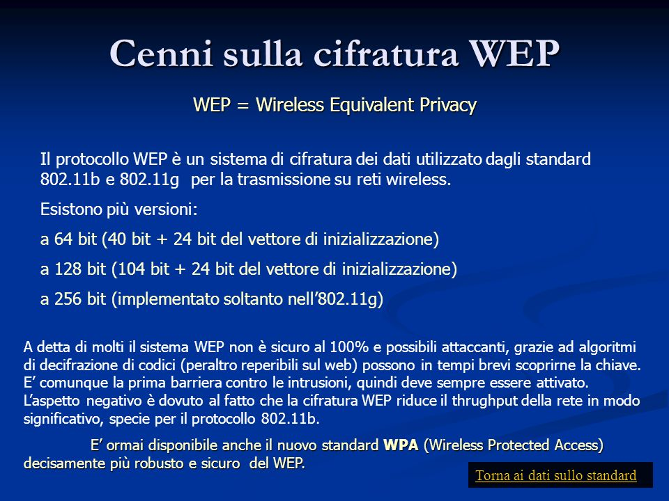 Cenni sulla cifratura WEP