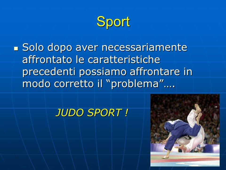 SportSolo dopo aver necessariamente affrontato le caratteristiche precedenti possiamo affrontare in modo corretto il problema ….