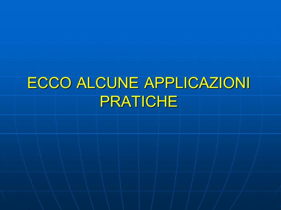 ECCO ALCUNE APPLICAZIONI PRATICHE