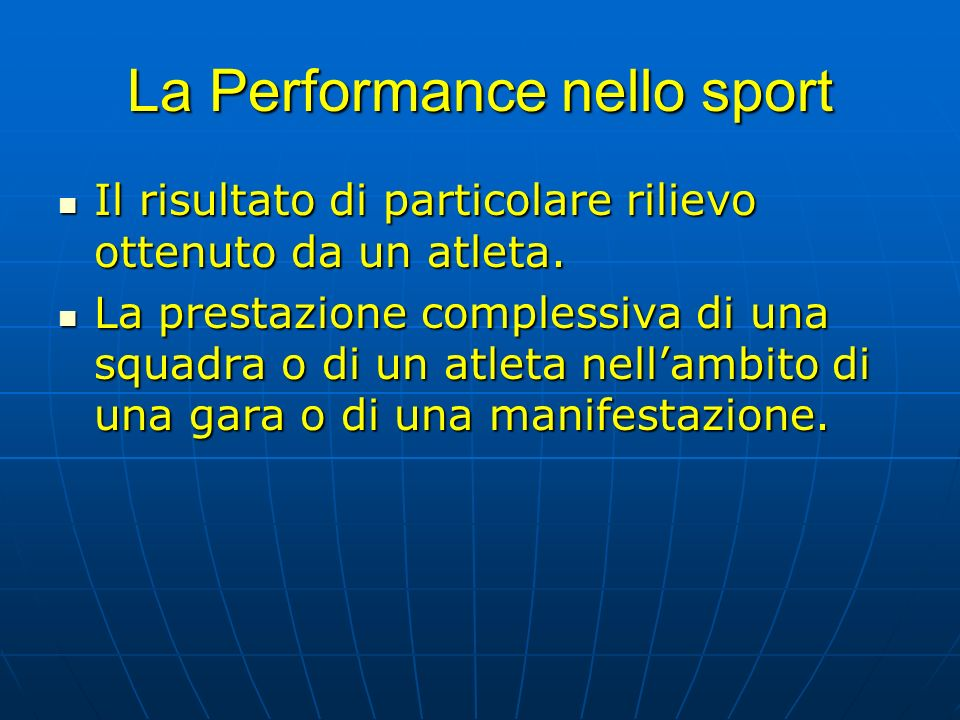 La Performance nello sport