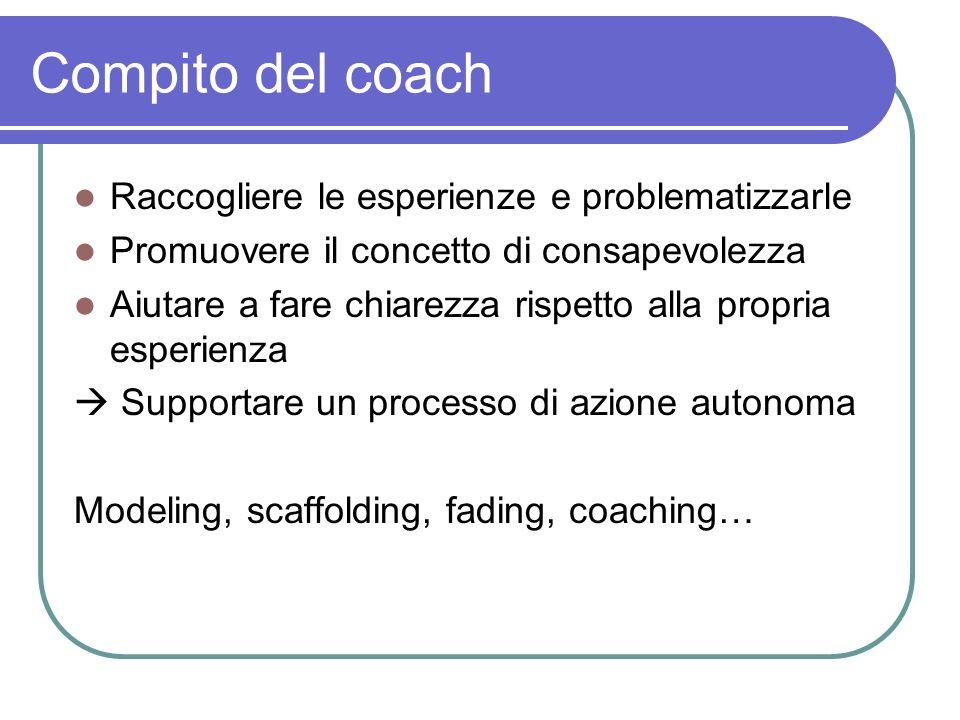 Compito del coach Raccogliere le esperienze e problematizzarle