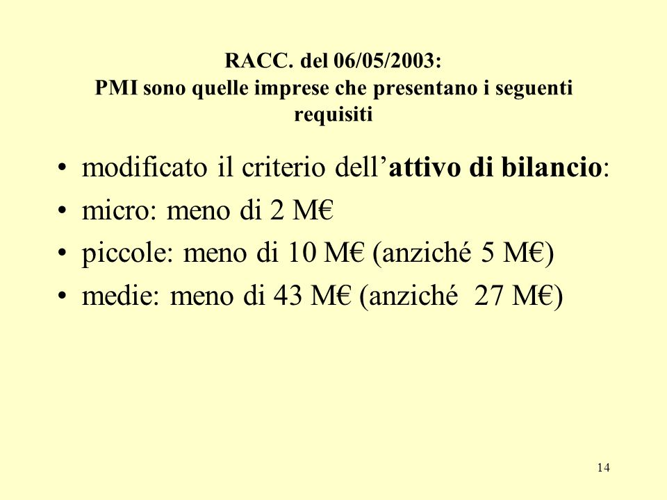 RACC. del 06/05/2003: PMI sono quelle imprese che presentano i seguenti requisiti