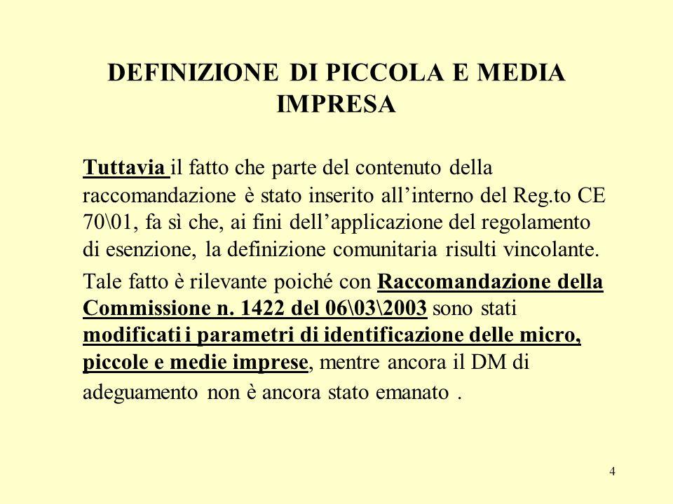 DEFINIZIONE DI PICCOLA E MEDIA IMPRESA