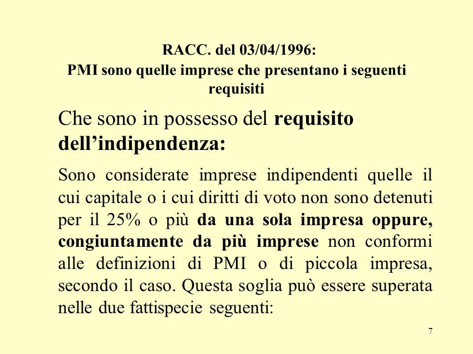 RACC. del 03/04/1996: PMI sono quelle imprese che presentano i seguenti requisiti