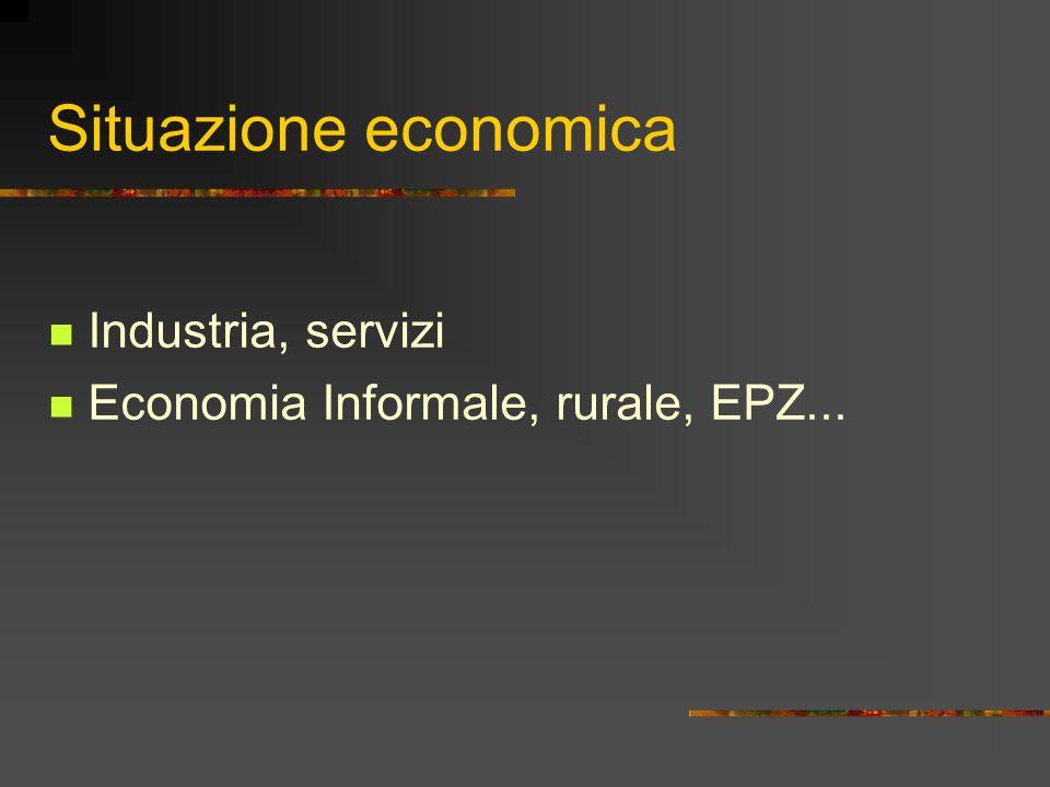 Situazione economica Industria, servizi