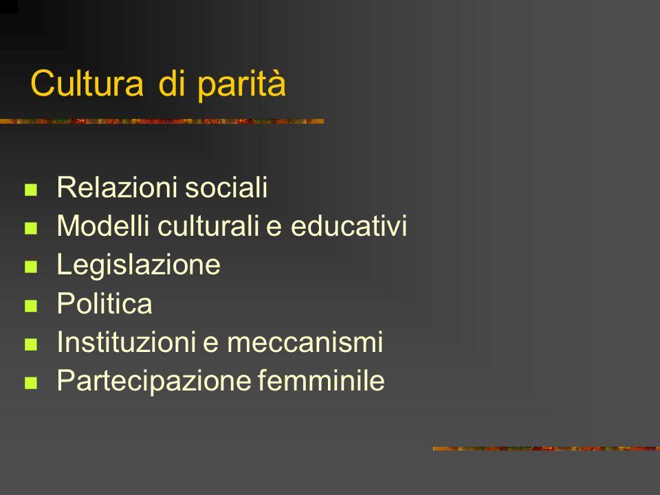 Cultura di parità Relazioni sociali Modelli culturali e educativi