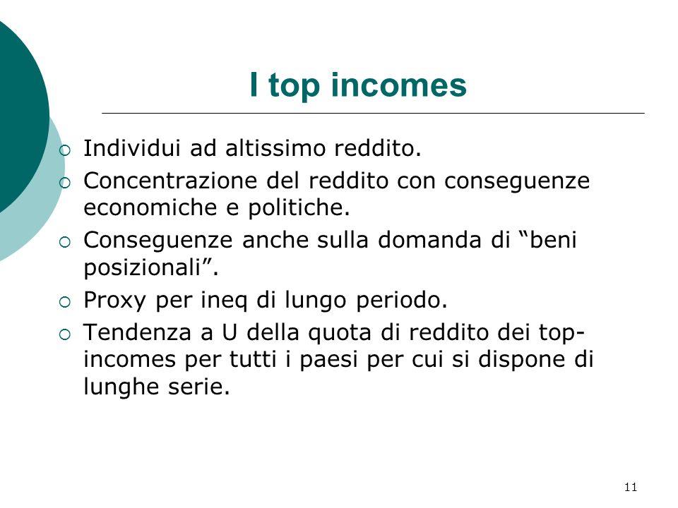 I top incomes Individui ad altissimo reddito.