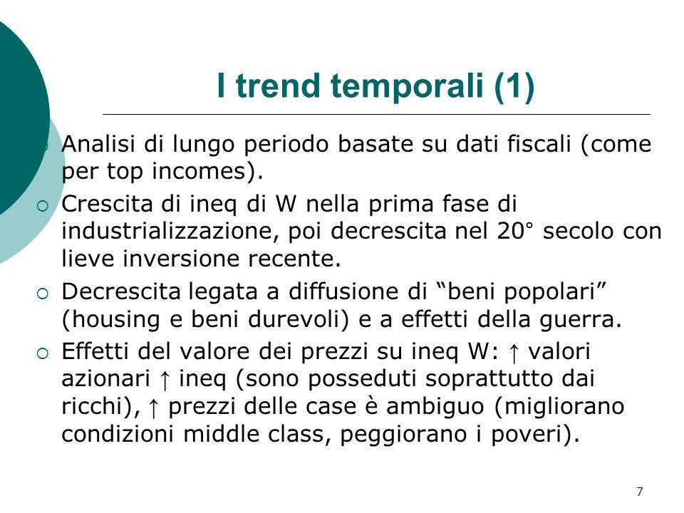 I trend temporali (1)Analisi di lungo periodo basate su dati fiscali (come per top incomes).