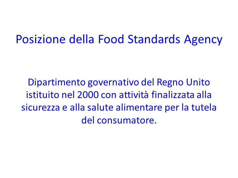 Posizione della Food Standards Agency