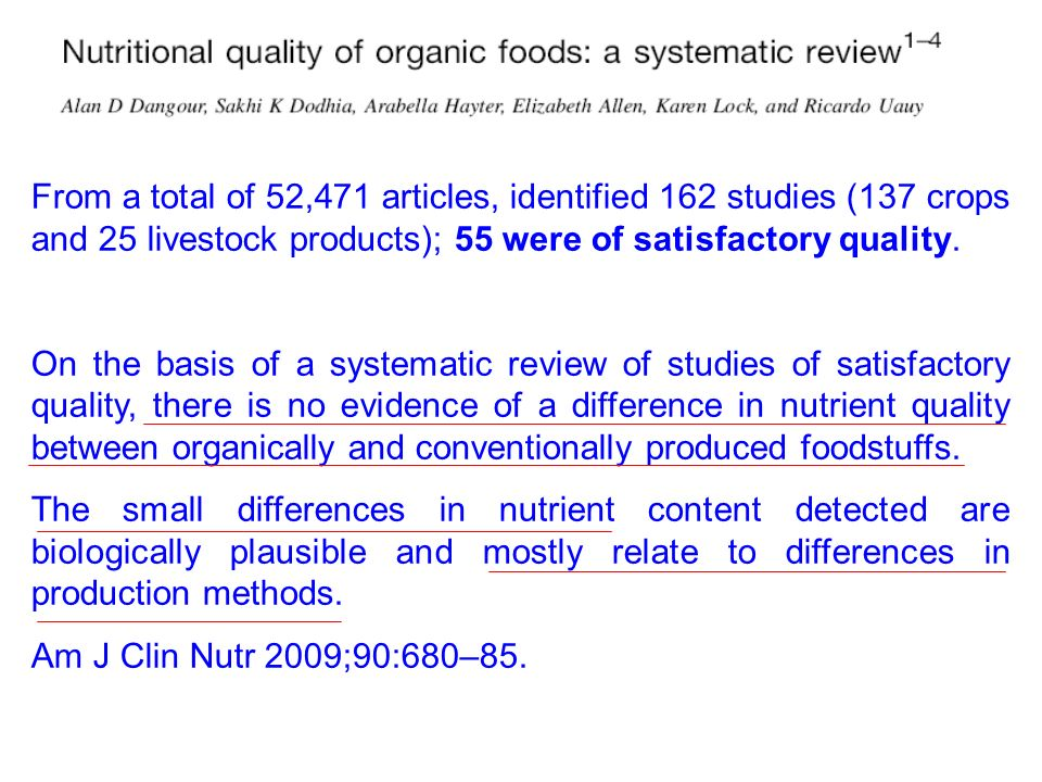 From a total of 52,471 articles, identified 162 studies (137 crops and 25 livestock products); 55 were of satisfactory quality.