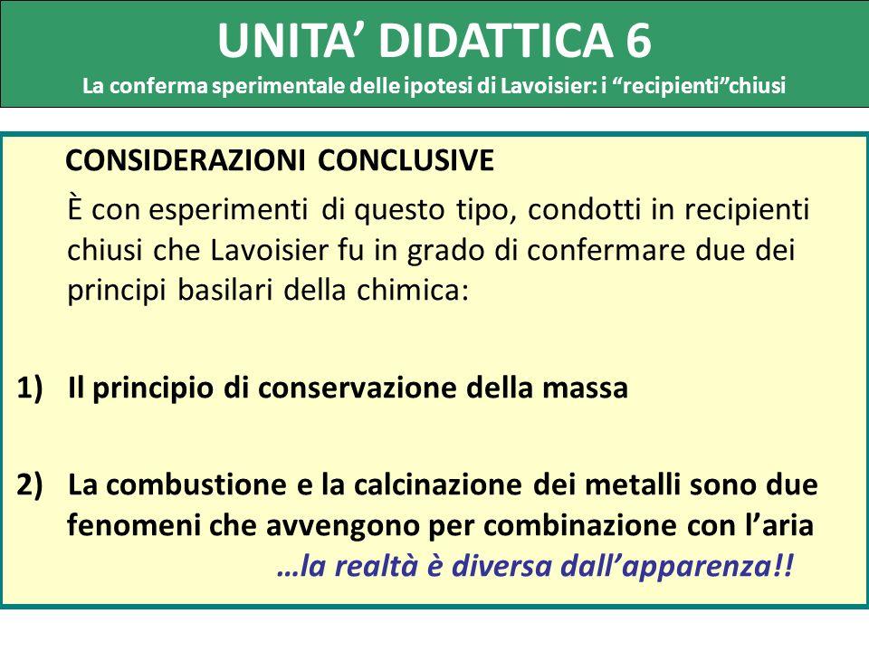 UNITA' DIDATTICA 6 CONSIDERAZIONI CONCLUSIVE