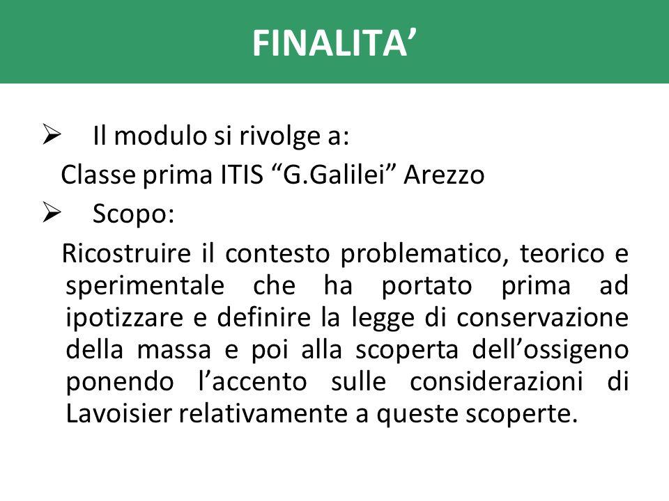 FINALITA' Il modulo si rivolge a: Classe prima ITIS G.Galilei Arezzo
