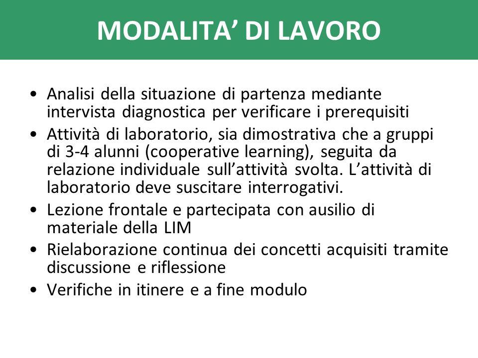 MODALITA' DI LAVORO Analisi della situazione di partenza mediante intervista diagnostica per verificare i prerequisiti.