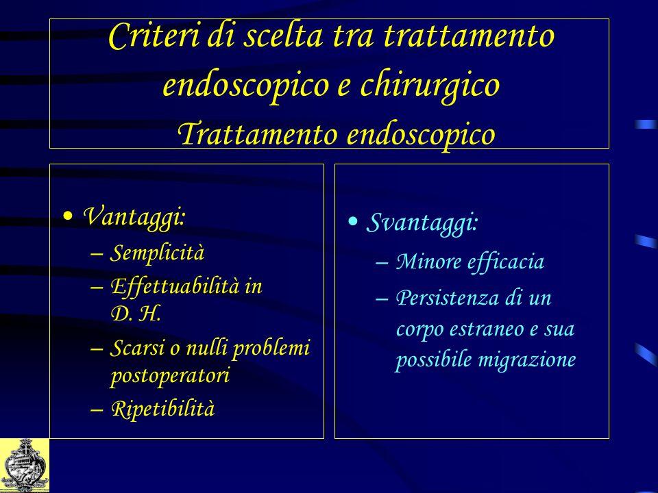 Criteri di scelta tra trattamento endoscopico e chirurgico Trattamento endoscopico
