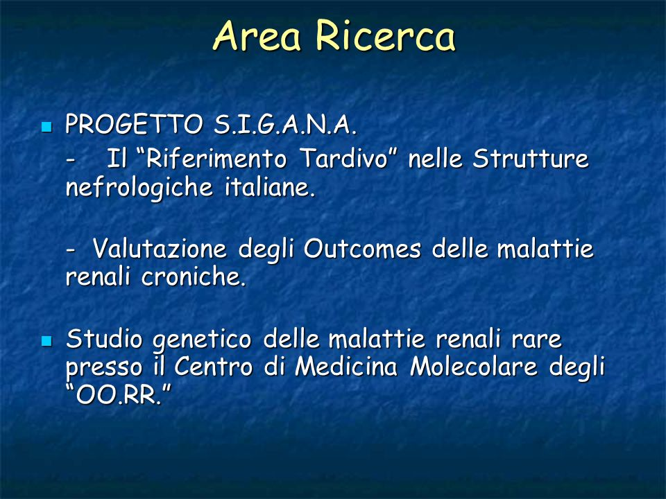 Area Ricerca PROGETTO S.I.G.A.N.A.