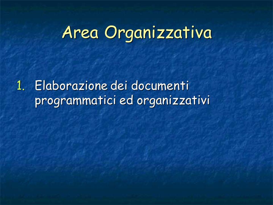 Area Organizzativa Elaborazione dei documenti programmatici ed organizzativi