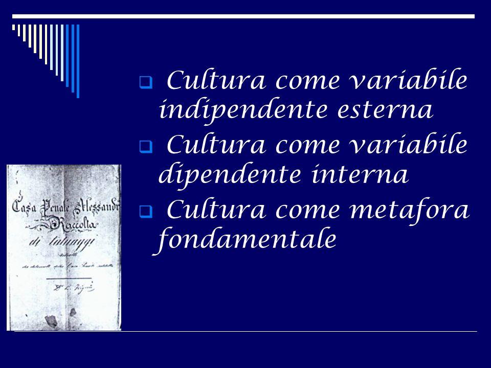Cultura come variabile indipendente esterna