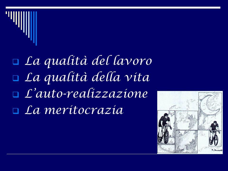 La qualità del lavoro La qualità della vita L'auto-realizzazione La meritocrazia