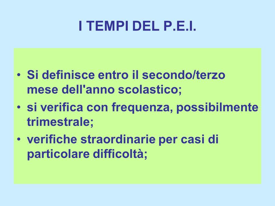 I TEMPI DEL P.E.I. Si definisce entro il secondo/terzo mese dell anno scolastico; si verifica con frequenza, possibilmente trimestrale;