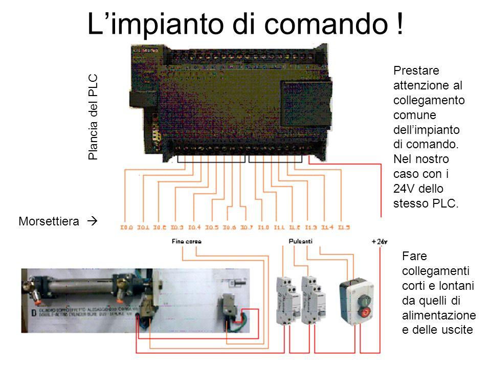 L'impianto di comando !Prestare attenzione al collegamento comune dell'impianto di comando. Nel nostro caso con i 24V dello stesso PLC.