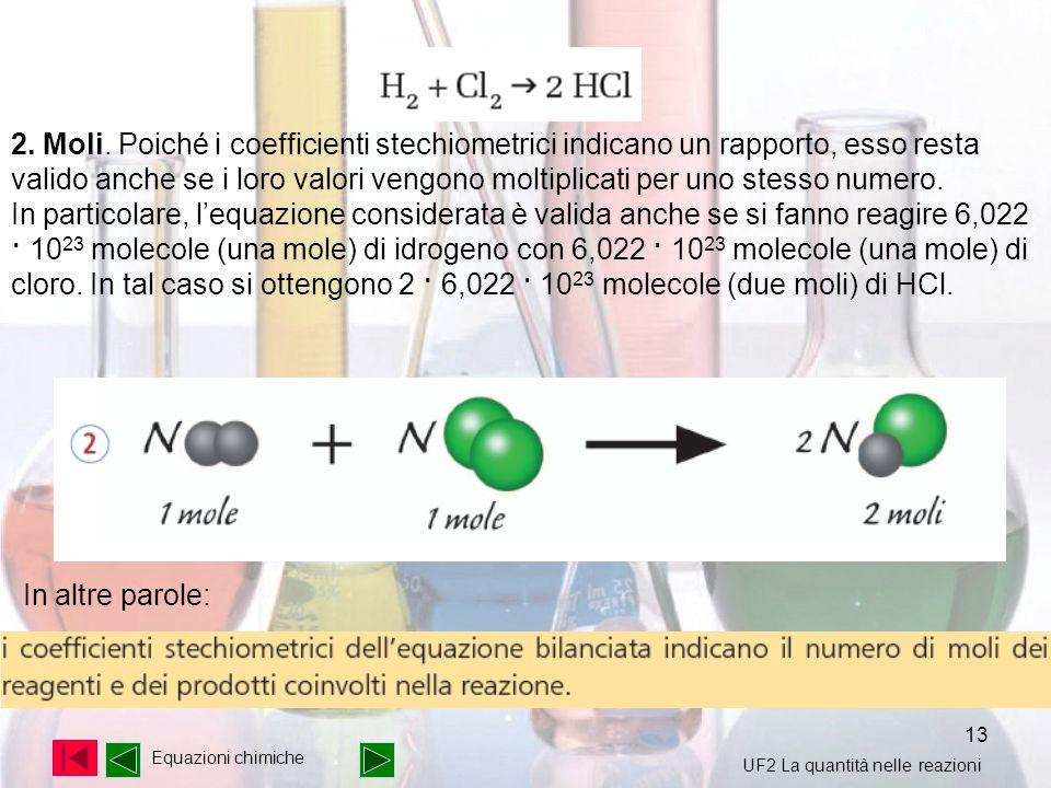 2. Moli. Poiché i coefficienti stechiometrici indicano un rapporto, esso resta valido anche se i loro valori vengono moltiplicati per uno stesso numero.