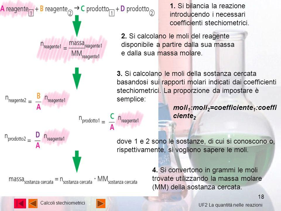 moli1:moli2=coefficiente1:coefficiente2