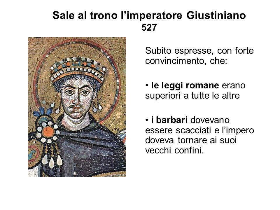 Sale al trono l'imperatore Giustiniano 527