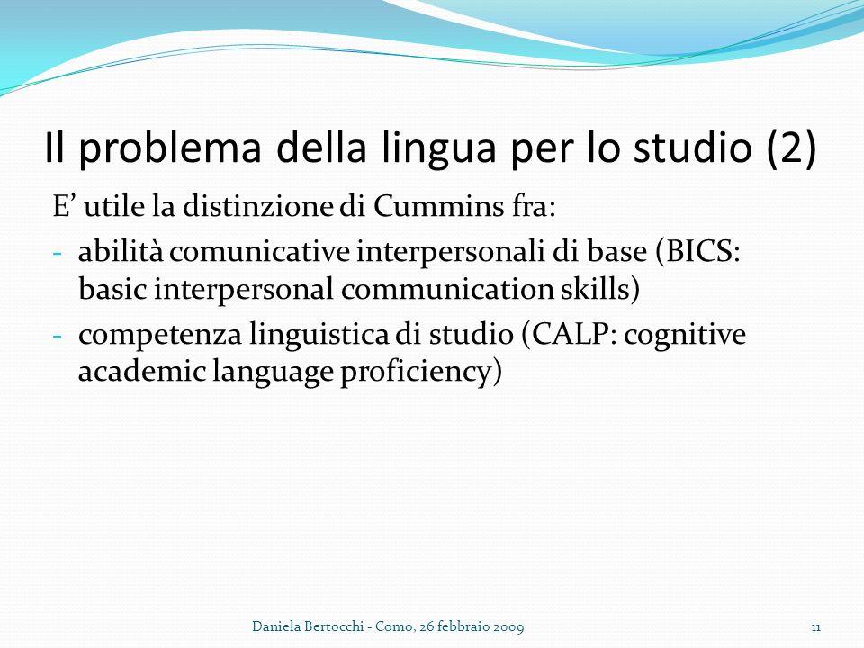 Il problema della lingua per lo studio (2)