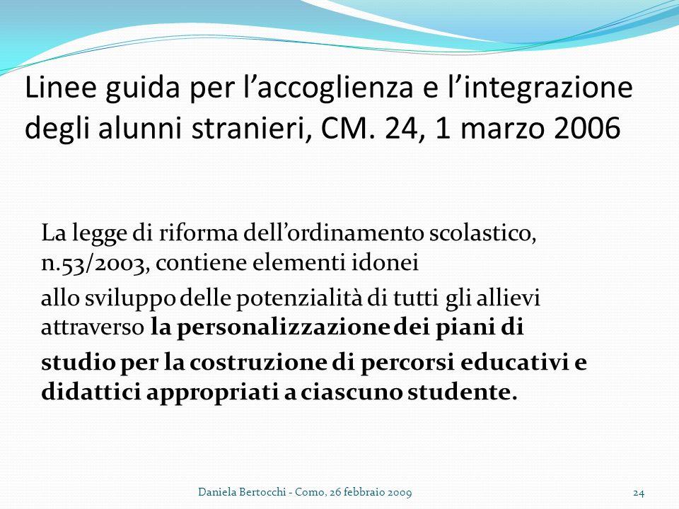 Linee guida per l'accoglienza e l'integrazione degli alunni stranieri, CM. 24, 1 marzo 2006