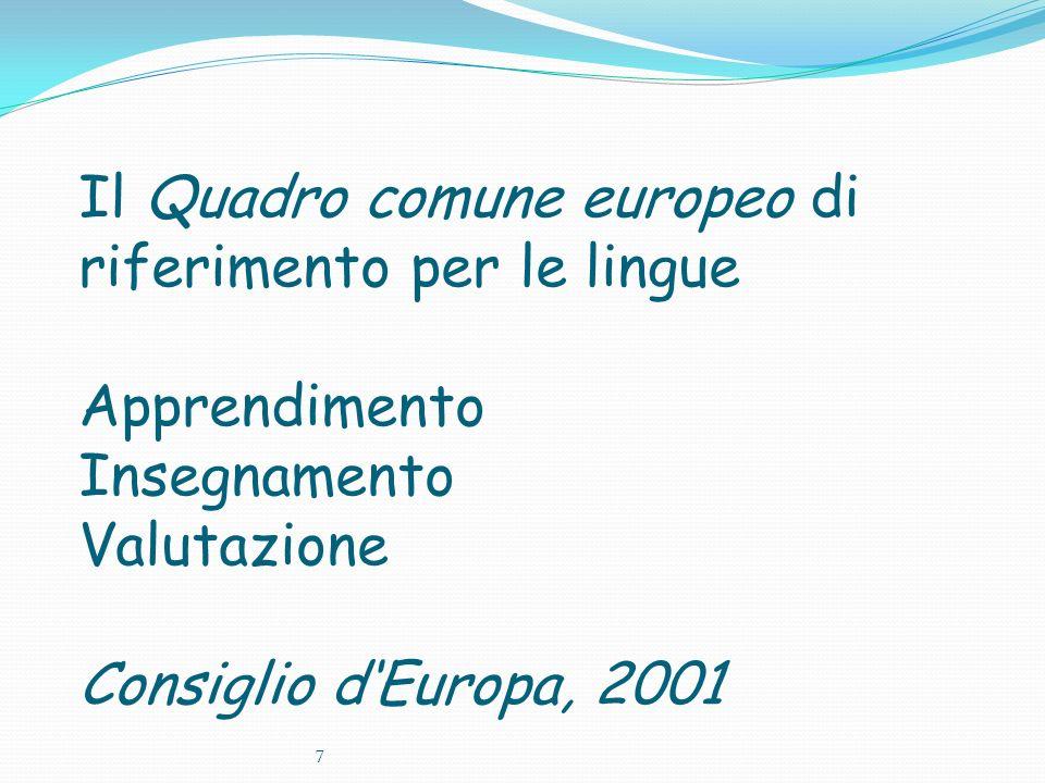 Il Quadro comune europeo di riferimento per le lingue Apprendimento Insegnamento Valutazione Consiglio d'Europa, 2001