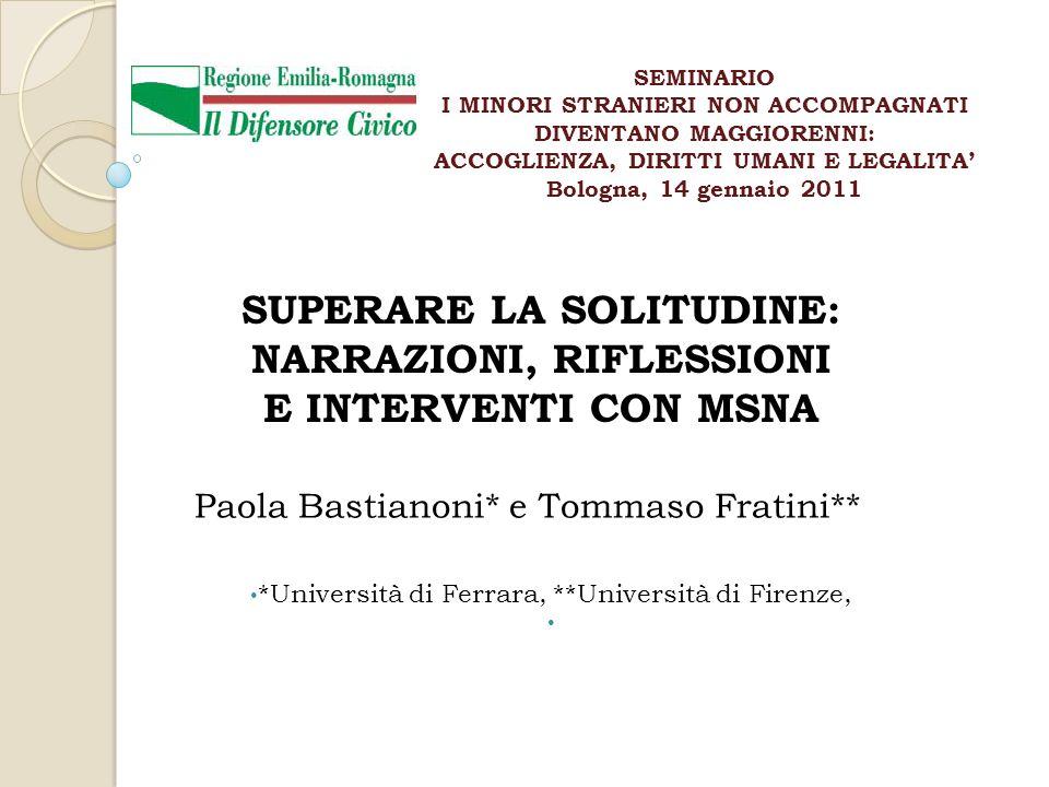SUPERARE LA SOLITUDINE: NARRAZIONI, RIFLESSIONI E INTERVENTI CON MSNA